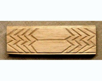 Oshiwa Carved Wood Printing Stamp, Tribal Design, 5.5''x 1.75'', Item 49-19-13