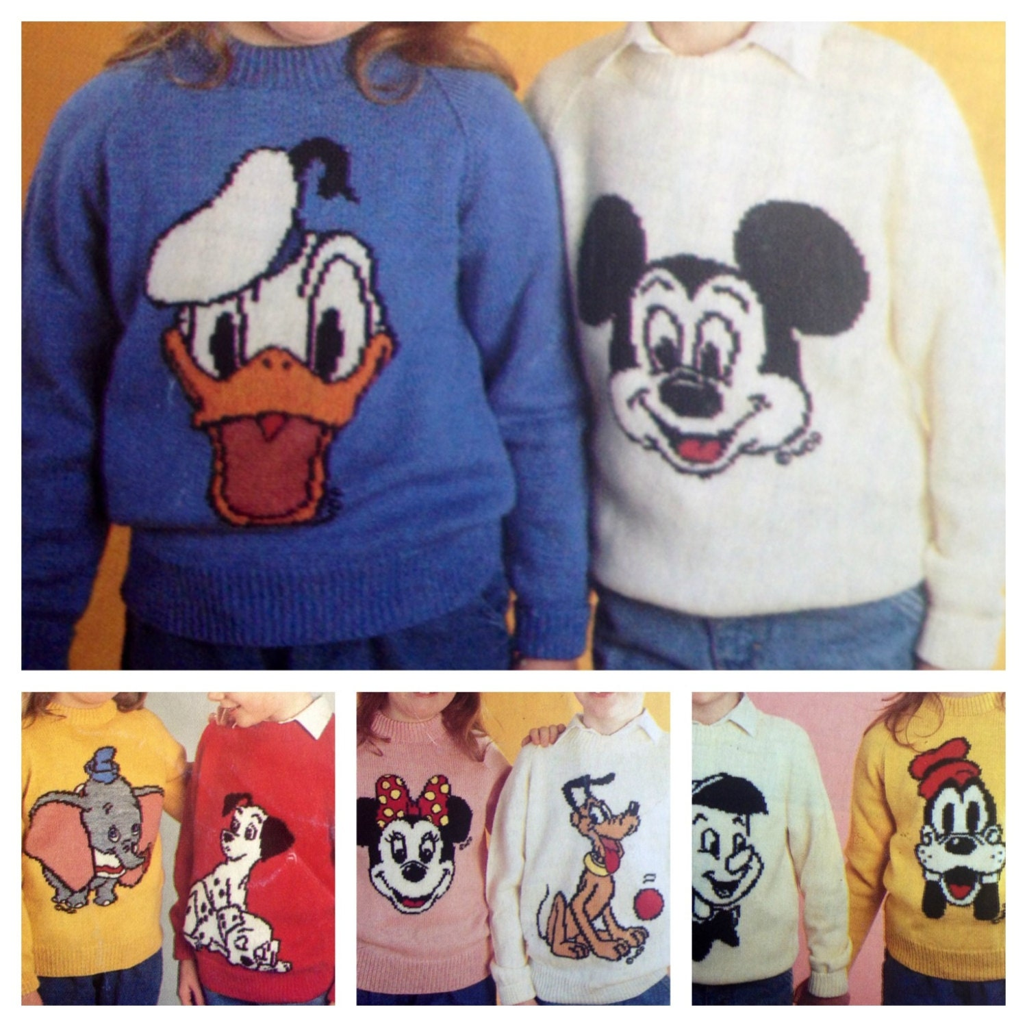 mickey and minnie mouse knitting pattern sweaters for children