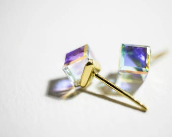 Winter Dream Colored Stud Earrings (Swarovski Crystal with Gold-plated Sterling Silver)