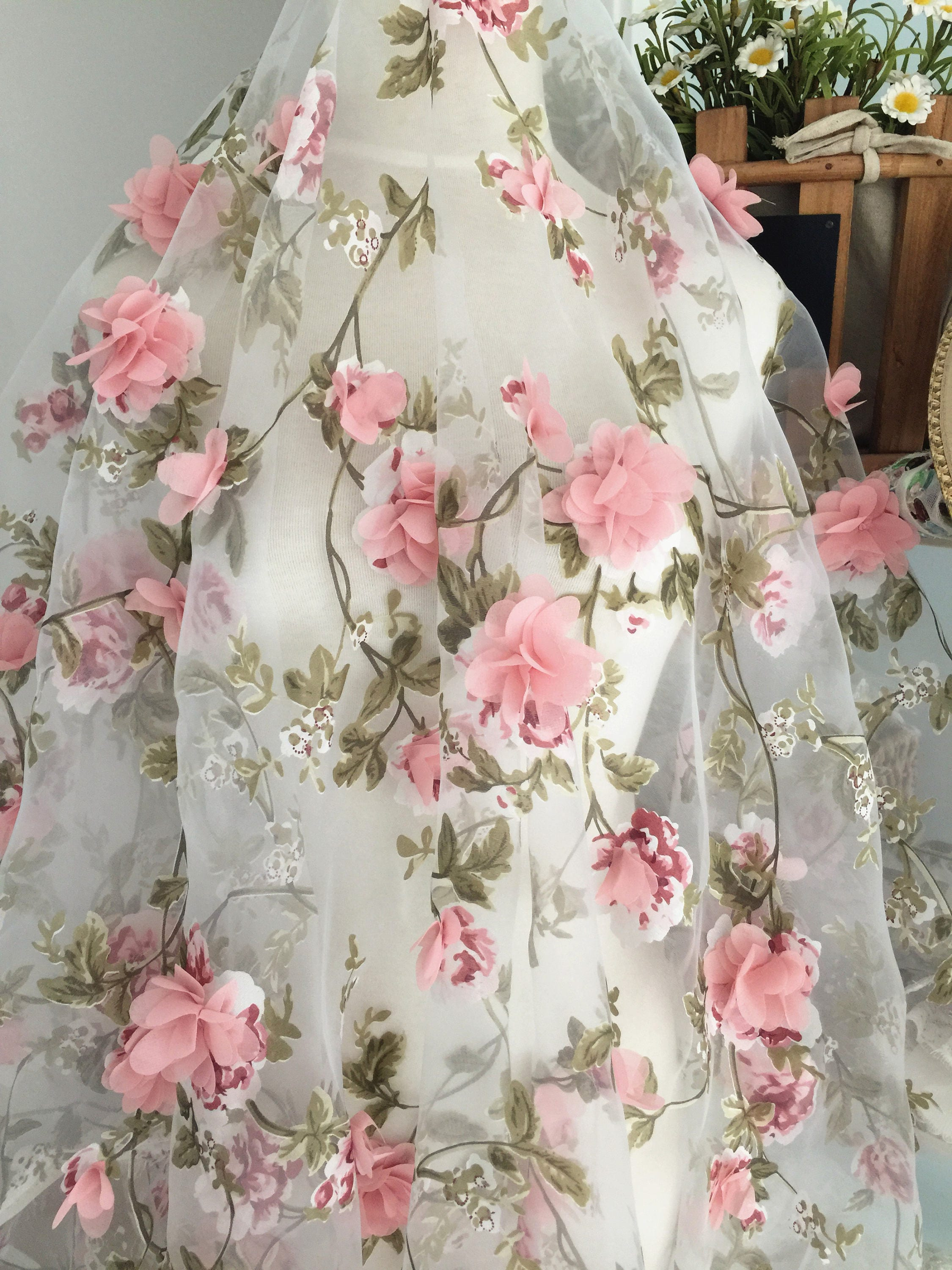 fabric organza lace pink 3d flower chiffon blossom dusty floral flowers gown yard rosette applique bridal appliques ivory etsy yards