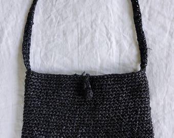 Vintage Black Woven Handbag