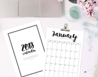 2018 Printable Calendar for Instant Download and print at home