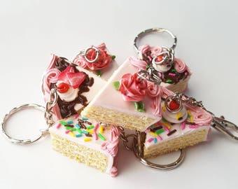 Slice of cake clay charm, keychain, miniature food, dollhouse, jewelry, bakery