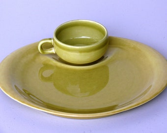 Hostess Party Snack Plate with Cup, Chartreuse, Russel Wright - American Modern by Steubenville, Rare Vintage