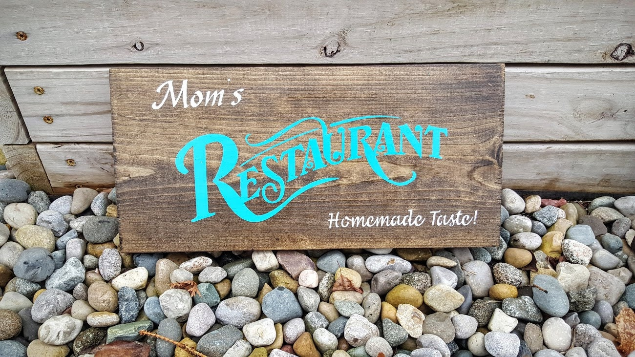 Mom\'s Restaurant Sign Wooden Kitchen Sign Kitchen Decor