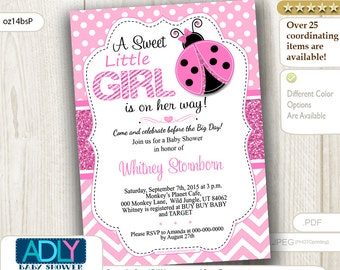 Pink Ladybug girl baby shower invitation, glitter and pink polka, chevron. A Sweet Little Girl is on her way INSTANT DOWNLOAD- oz14bsP