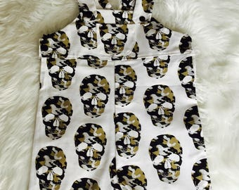 Funky white and army skull boy overall. Size 18 month to 2