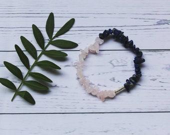 Lapis & rose quarts bracelet