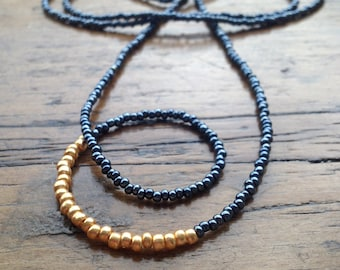 Long layer necklace, slate and gold boho layer necklace, beach necklace, beaded necklace, gold beaded long necklace