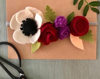 Floral felt headband
