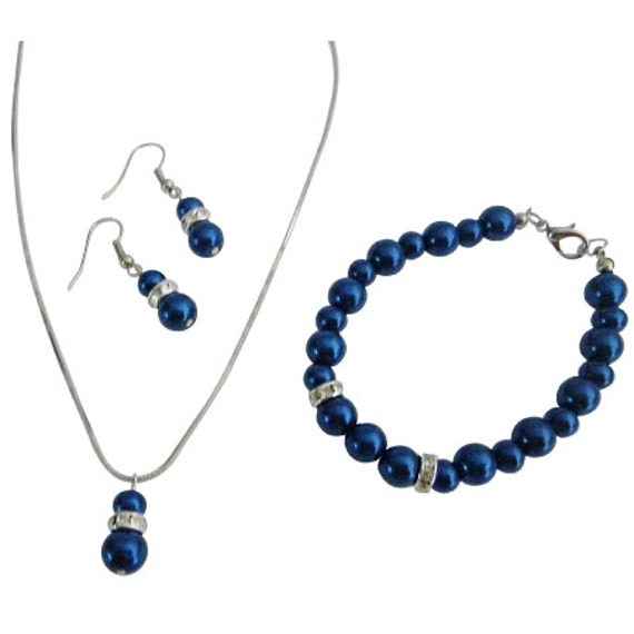 Royal Blue Pearl Jeelry Set,Dark blue Pearl jewelry,Bridesmaid rhinestonee jewelry,Silver pearl rhinestone set, Free Shipping In USA