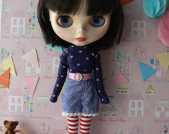 Red and white Striped Blythe socks Red Blythe stockings Blythe doll clothes handmade in Paris France