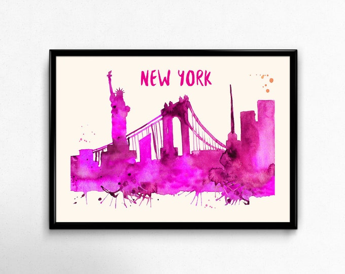 New York City Skyline Watercolor Poster - Cityscape Painting Artwork - Art Print, Multiple Sizes - 10x8 to 36x24 - Watercolor Painting Style