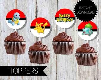 Pokemon GO Birthday Party PRINTABLE Cupcake TOPPERS- Instant Download | Pokémon Go