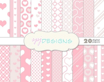 20 Pretty Pink Love Hearts Digital Printable Scrapbooking Paper Background