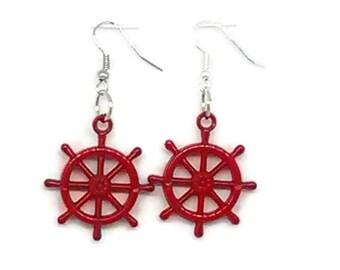 Red Ship's Wheel Charm Earrings