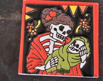 Talavera Mexican Tile- Day of the Dead / Mom Catrina