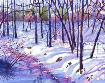 Frozen Creek winter painting Original Watercolor Painting Art PRINT