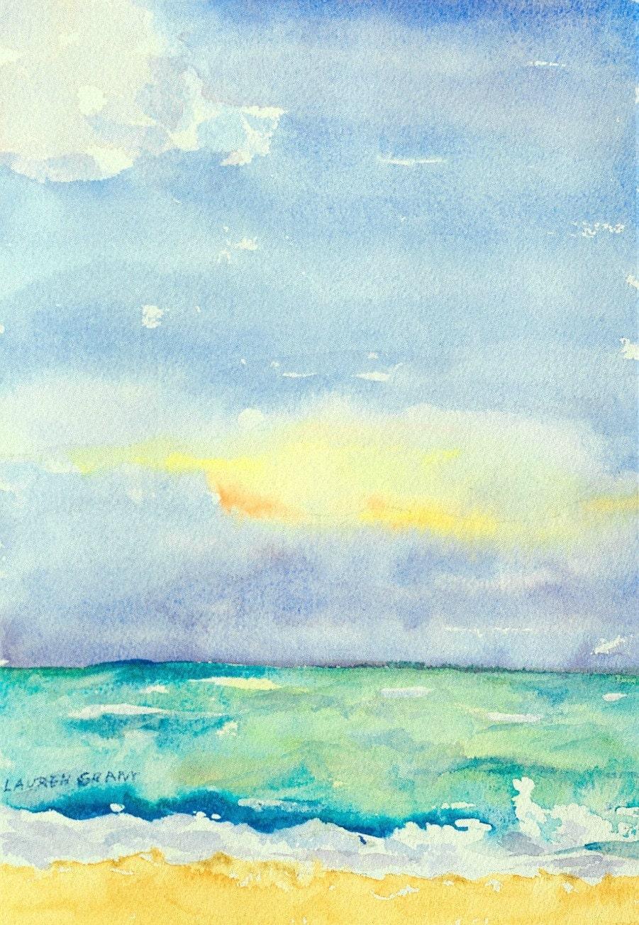Watercolor landscape impressionist beach scene ocean and sky