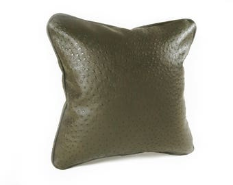 Dark Olive Green Faux Leather Square Pillow