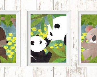 Bear Families, Koala Bear, Panda Bear, Brown Bear, Nursery Room, Children's Room, Decor, Bears, Forest, Jungle