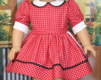 American Girl Style 1950s Button Side Dress in Red