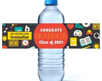 Graduation Water Bottle Labels - Graduation Water Labels - Custom Water Labels - Class of 2017 - High School Graduation - Highschool grad