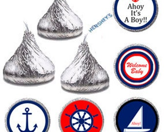 Hershey Kiss Label, Candy Sticker Labels Ahoy It's A Boy, Nautical Baby Shower Favors Candy Label, Boat Anchor Red Blue Printable (003)