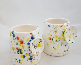 Button handle pottery mug clay handmade