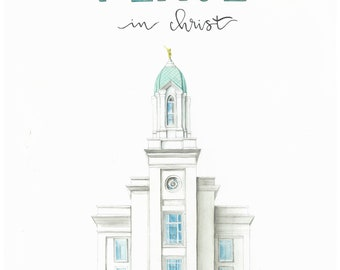 Peace in Christ Cedar City temple watercolor painting
