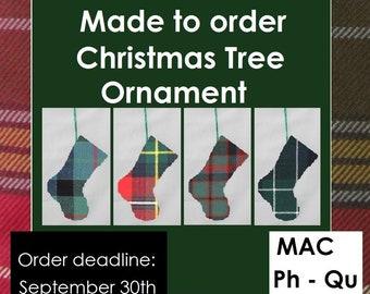 Mini tartan stocking, Scottish decoration in Tartans like MacPhail, Macpherson, MacPhie, MacQuarrie, MacQueen