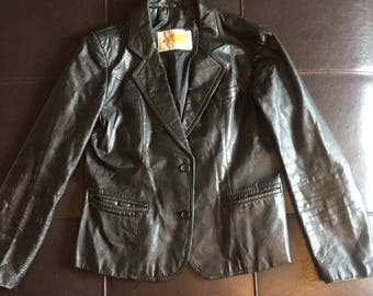 Vintage Tigers Black Leather Jacket Women's Size Small Medium