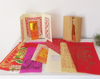 Joss Paper Assortment Pack Chinese Joss Ritual Paper Scrapbook Decorative Paper Asian Boho Decor Asian Tissue Paper Colorful Afterlife Paper