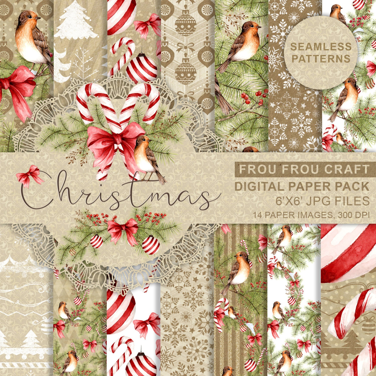 Christmas paper pack xmas scrapbook paper watercolor digital zoom jeuxipadfo Image collections