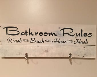 Rustic sign 'Bathroom rules', bathroom decor, bathroom signs, bathroom rules, rustic decor, home decor