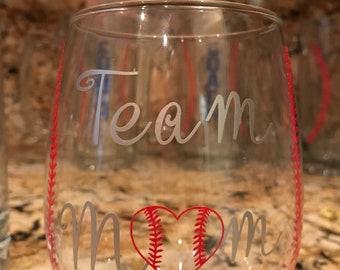 Team Mom Wine Glass