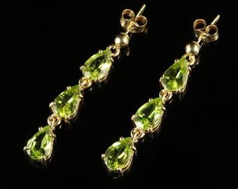 Peridot Long 9ct Gold Earrings Trilogy of Peridot