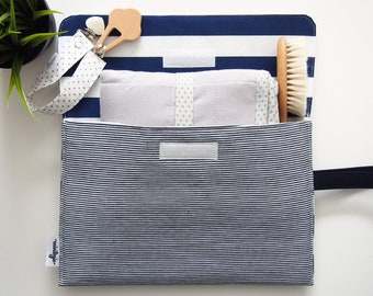 Diaper Clutch, Nappy Clutch, Waterproof Diaper Pouch, Diaper Holder,Cloth Diaper Wet Bag,Travel diaper clutch with changing pad,Navy Stripes