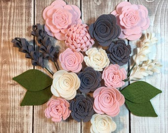 Handmade Wool Felt Flowers,Charcoal,Ivory and Bubble Gum