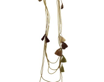 30% OFF Prana necklace (EARTH) - fun and funky mix of colored tassels on a long antiqued gold beaded cord - so SIMPLE and bohemian