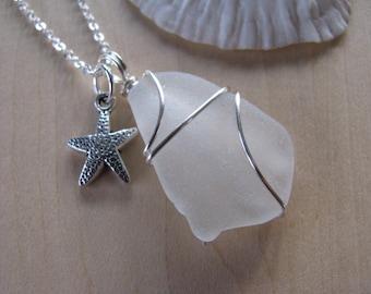 Pure White Sea Glass Pendant for Beach Wedding Beach Glass Necklace Stafish