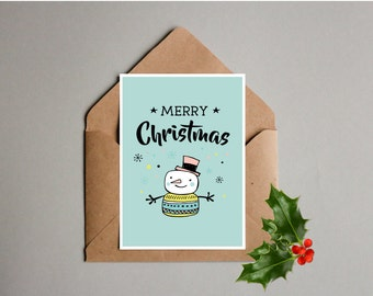 Printable Christmas Card, Snowman card, 5x7 card, Merry Christmas, Instant download, Holiday card