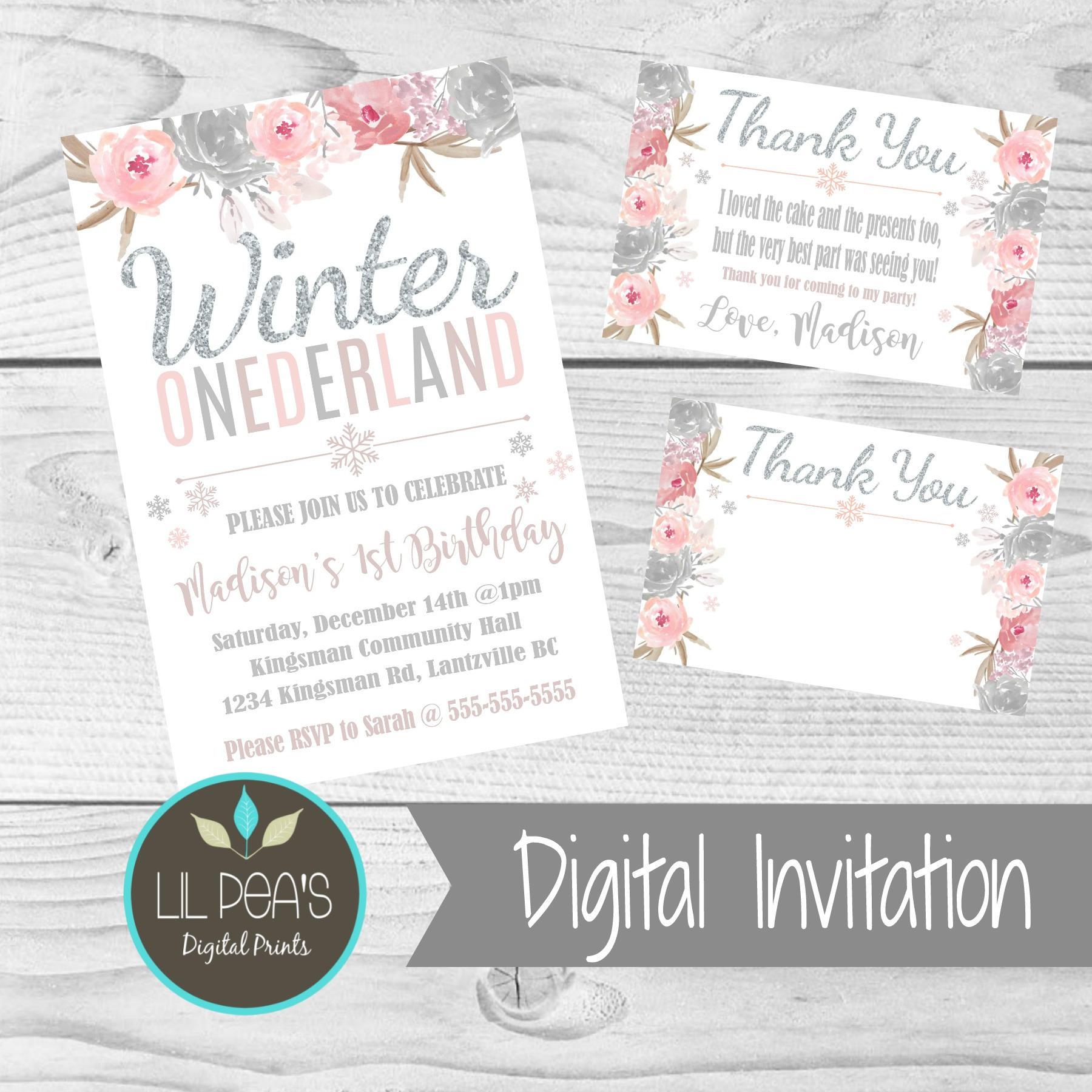 Winter Onederland Birthday Invitation 1st Birthday Printable