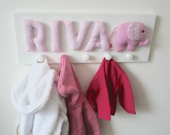 Girls coat hooks with name and elephant, personalized gift, pink, coat hook, coat rack, coat peg, wardrobe