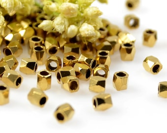 Diamond Cut Beads, 2.5mm, Brass Rice Beads, Solid Brass Beads, 1.5mm Hole