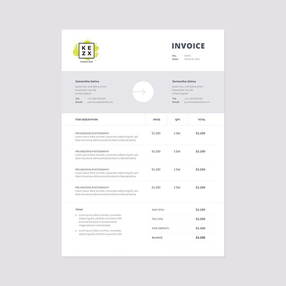 Clean And Modern Invoice Template Instant Download Receipt - Modern invoice template