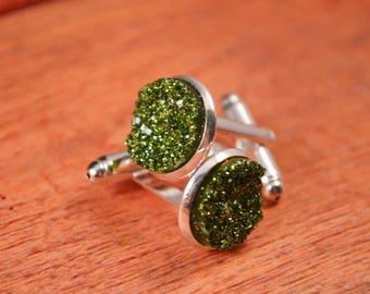 Druzy Cufflinks, Druzy Cuff Links, Wedding Cuff Links, Green Cuff Links, Green Cufflinks, Groomsmen Gift, Gift for Men, Gifts for Men