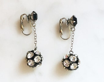 Vintage 60s Long Rhinestone Ball Earrings Vintage Jewelry