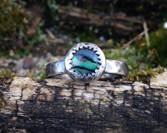 Paua Shell Hammered Ring - size 6