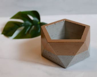 "Concrete Metallic or Satin Trinket Dish - Geometric Pot - 3 1/4"" Wide - Faceted - Painted Outside Top Half - Custom Color"
